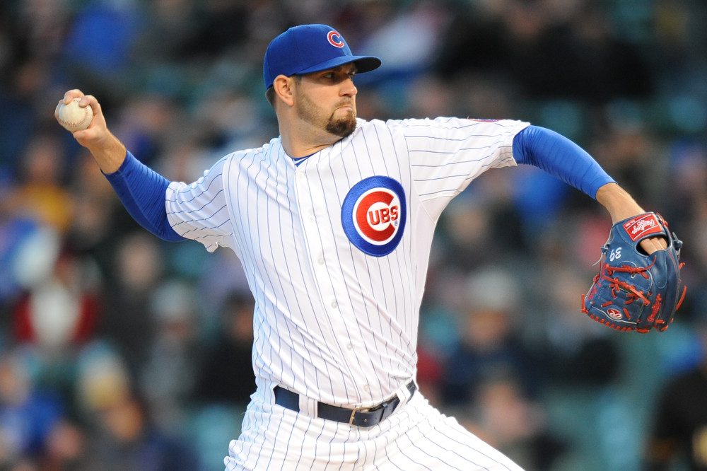 April 27, 2015: Chicago Cubs Starting pitcher Jason Hammel (39) [5244] pitches during a game between the Pittsburgh Pirates and Chicago Cubs at Wrigley Field in Chicago, IL.
